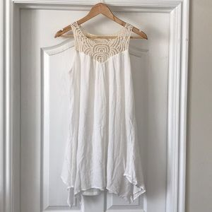Cream and white lace tank top